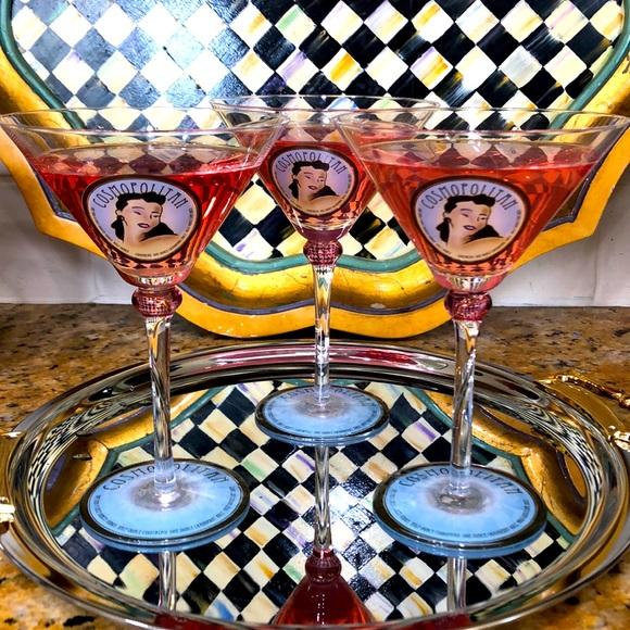 Vintage Cosmopolitan Martini Cocktail Glasses